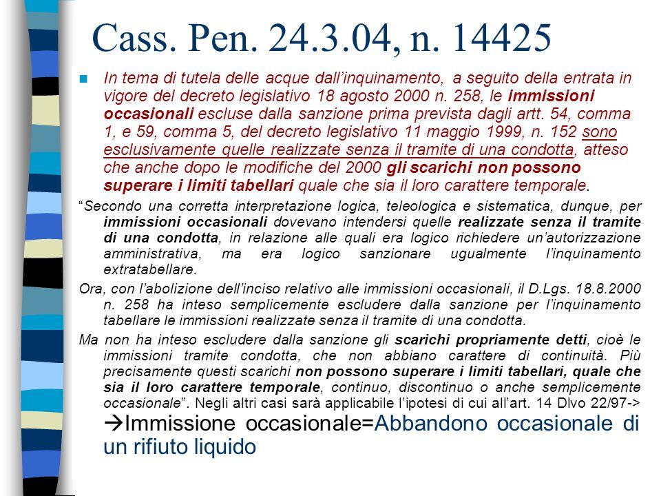 65 Articolo: 54 (Sanzioni amministrative) c.1 SCARICO E IMMISSIONE OCCASIONALE 1.