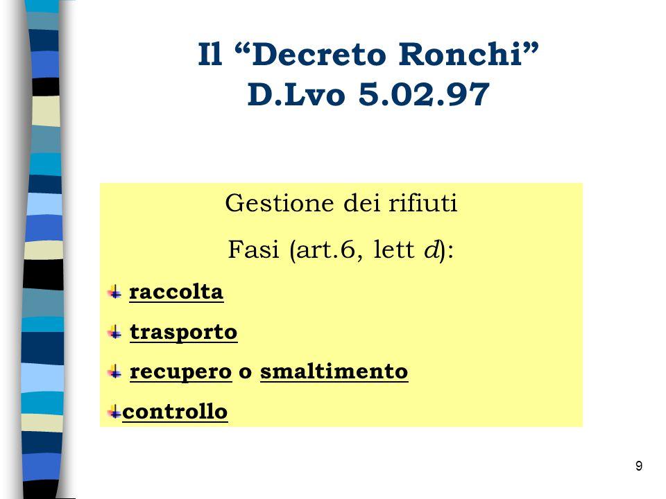 8 Il Decreto Ronchi D.Lvo 5.02.97 Principio base: GESTIONE Urbani non pericolosi pericolosi Speciali: non pericolosi pericolosi Classificazione dei rifiuti