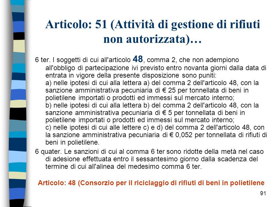 90 Articolo: 51 (Attività di gestione di rifiuti non autorizzata)… 6 bis.