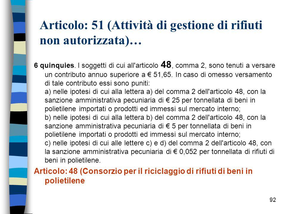 91 Articolo: 51 (Attività di gestione di rifiuti non autorizzata)… 6 ter.