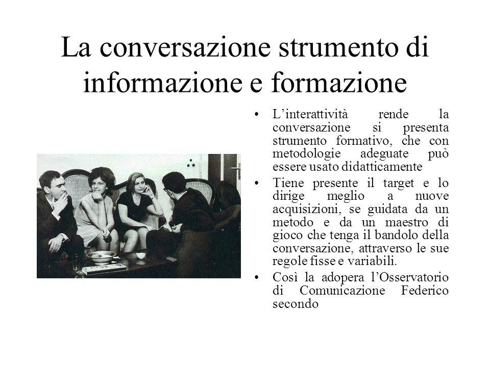 La conversazione strumento di informazione e formazione L'interattività rende la conversazione si presenta strumento formativo, che con metodologie ad