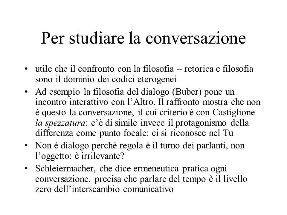 Per studiare la conversazione utile che il confronto con la filosofia – retorica e filosofia sono il dominio dei codici eterogenei Ad esempio la filosofia del dialogo (Buber) pone un incontro interattivo con l'Altro.