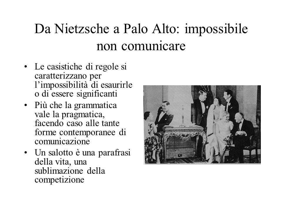 Da Nietzsche a Palo Alto: impossibile non comunicare Le casistiche di regole si caratterizzano per l'impossibilità di esaurirle o di essere significanti Più che la grammatica vale la pragmatica, facendo caso alle tante forme contemporanee di comunicazione Un salotto è una parafrasi della vita, una sublimazione della competizione