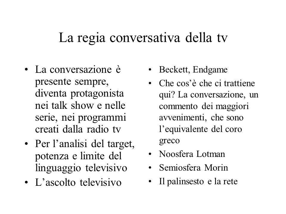 La regia conversativa della tv La conversazione è presente sempre, diventa protagonista nei talk show e nelle serie, nei programmi creati dalla radio