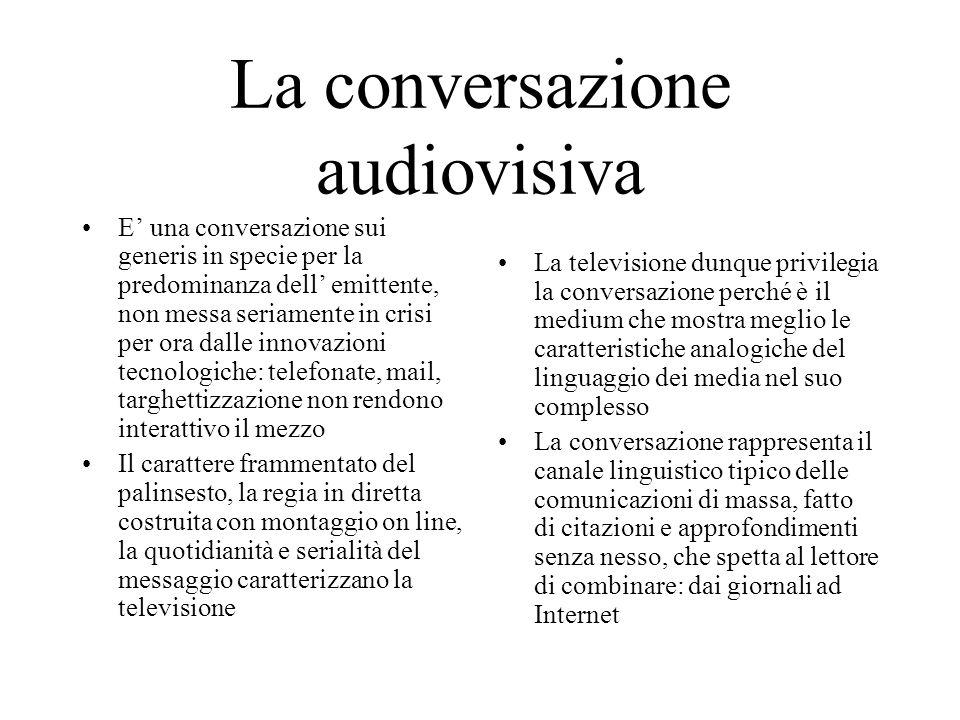 La conversazione audiovisiva E' una conversazione sui generis in specie per la predominanza dell' emittente, non messa seriamente in crisi per ora dal