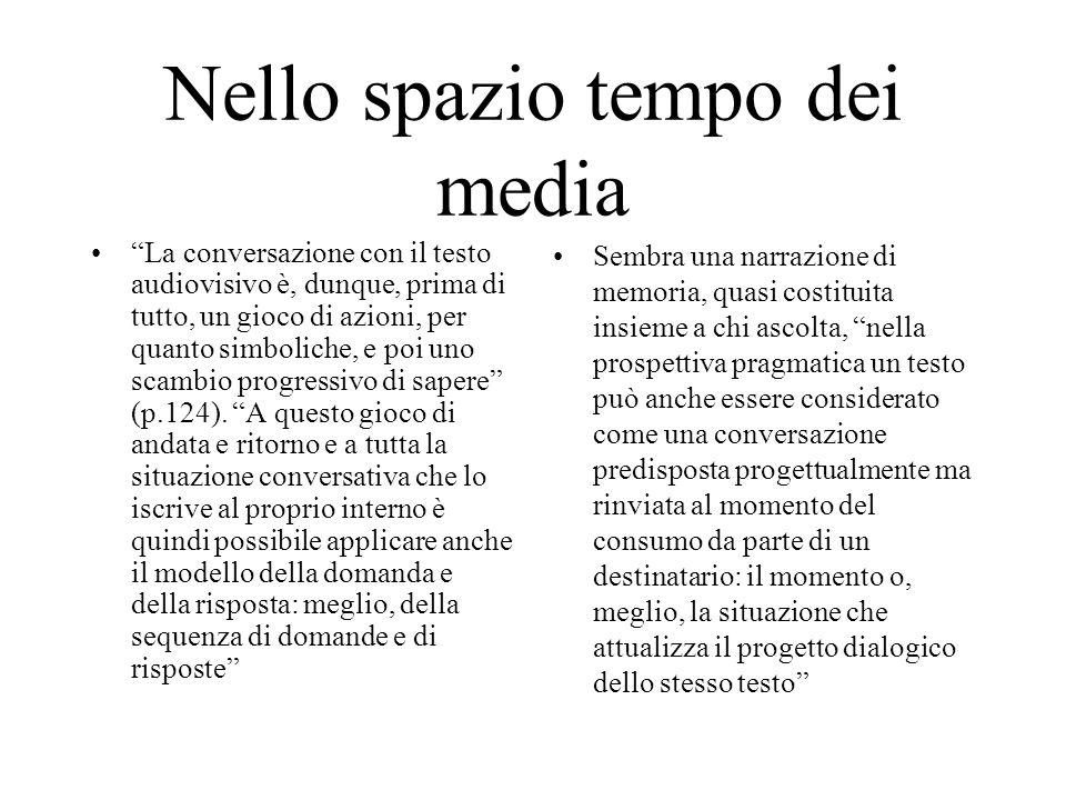Nello spazio tempo dei media La conversazione con il testo audiovisivo è, dunque, prima di tutto, un gioco di azioni, per quanto simboliche, e poi uno scambio progressivo di sapere (p.124).