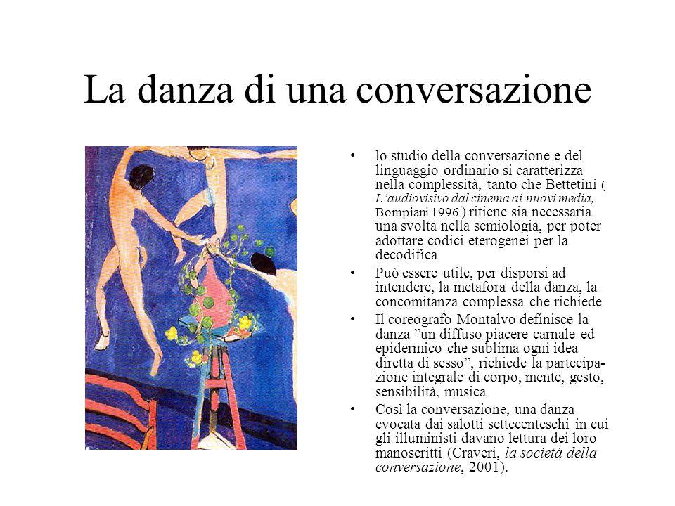 La danza di una conversazione lo studio della conversazione e del linguaggio ordinario si caratterizza nella complessità, tanto che Bettetini ( L'audi