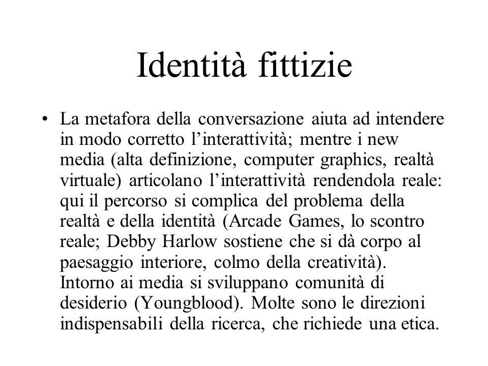 Identità fittizie La metafora della conversazione aiuta ad intendere in modo corretto l'interattività; mentre i new media (alta definizione, computer