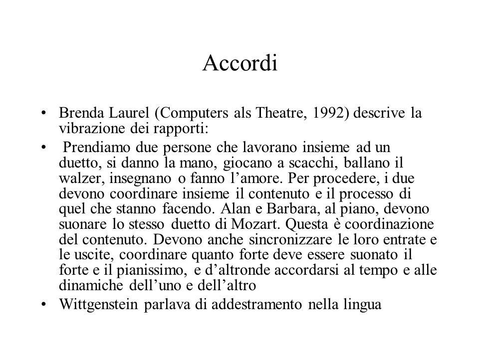 Accordi Brenda Laurel (Computers als Theatre, 1992) descrive la vibrazione dei rapporti: Prendiamo due persone che lavorano insieme ad un duetto, si danno la mano, giocano a scacchi, ballano il walzer, insegnano o fanno l'amore.