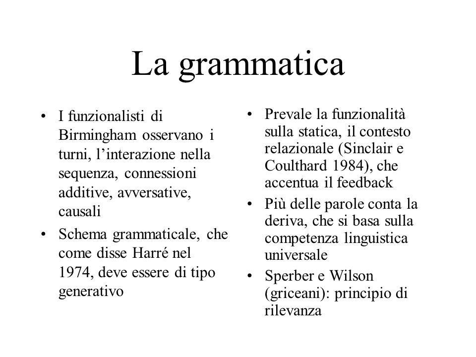 La grammatica I funzionalisti di Birmingham osservano i turni, l'interazione nella sequenza, connessioni additive, avversative, causali Schema grammaticale, che come disse Harré nel 1974, deve essere di tipo generativo Prevale la funzionalità sulla statica, il contesto relazionale (Sinclair e Coulthard 1984), che accentua il feedback Più delle parole conta la deriva, che si basa sulla competenza linguistica universale Sperber e Wilson (griceani): principio di rilevanza