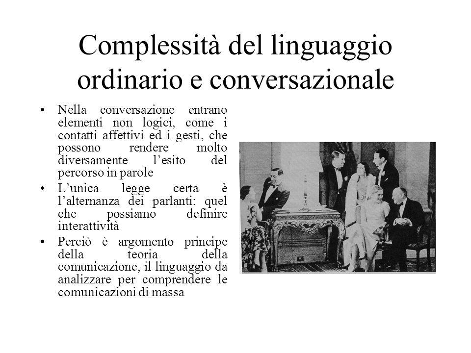 Complessità del linguaggio ordinario e conversazionale Nella conversazione entrano elementi non logici, come i contatti affettivi ed i gesti, che possono rendere molto diversamente l'esito del percorso in parole L'unica legge certa è l'alternanza dei parlanti: quel che possiamo definire interattività Perciò è argomento principe della teoria della comunicazione, il linguaggio da analizzare per comprendere le comunicazioni di massa