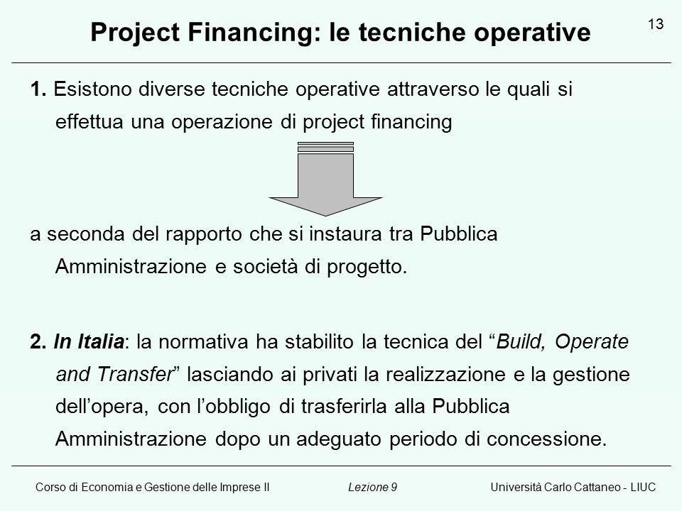 Corso di Economia e Gestione delle Imprese IIUniversità Carlo Cattaneo - LIUCLezione 9 13 Project Financing: le tecniche operative 1.