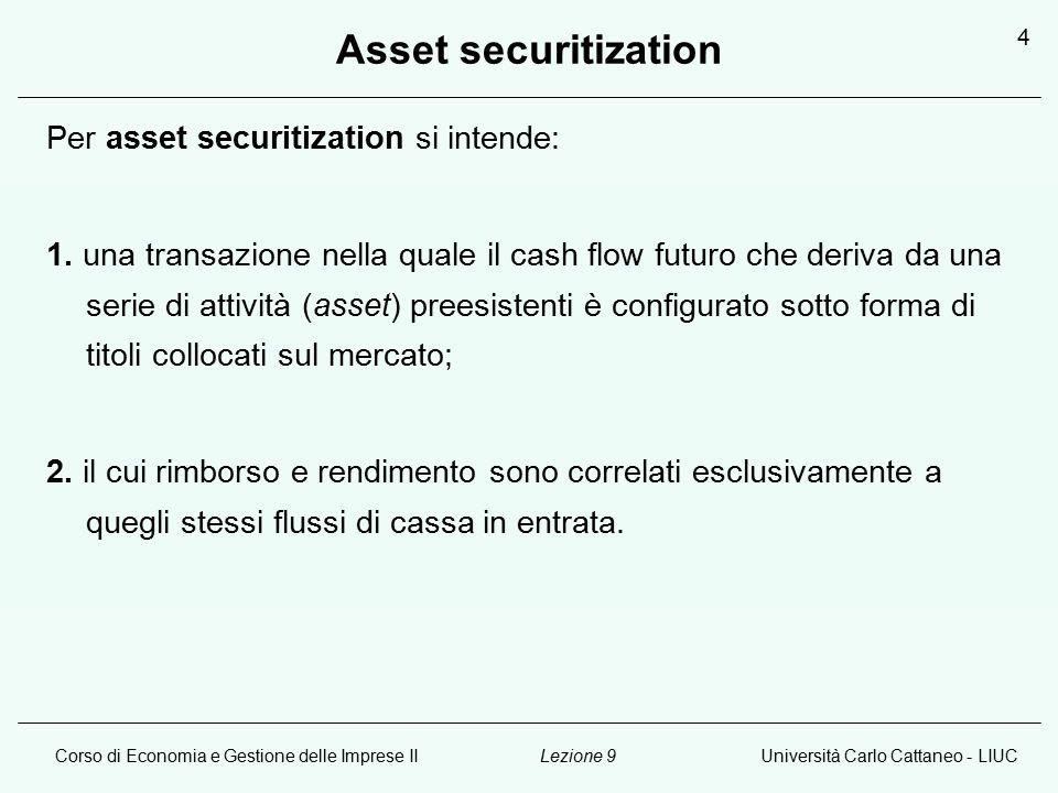 Corso di Economia e Gestione delle Imprese IIUniversità Carlo Cattaneo - LIUCLezione 9 4 Asset securitization Per asset securitization si intende: 1.