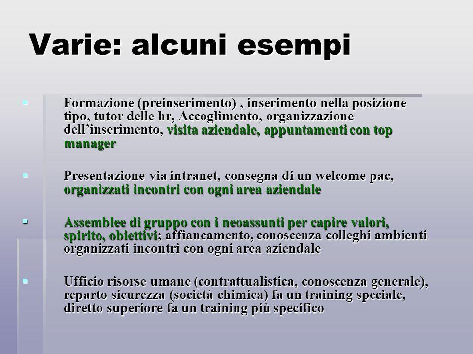 Varie: alcuni esempi  Formazione (preinserimento), inserimento nella posizione tipo, tutor delle hr, Accoglimento, organizzazione dell'inserimento, v