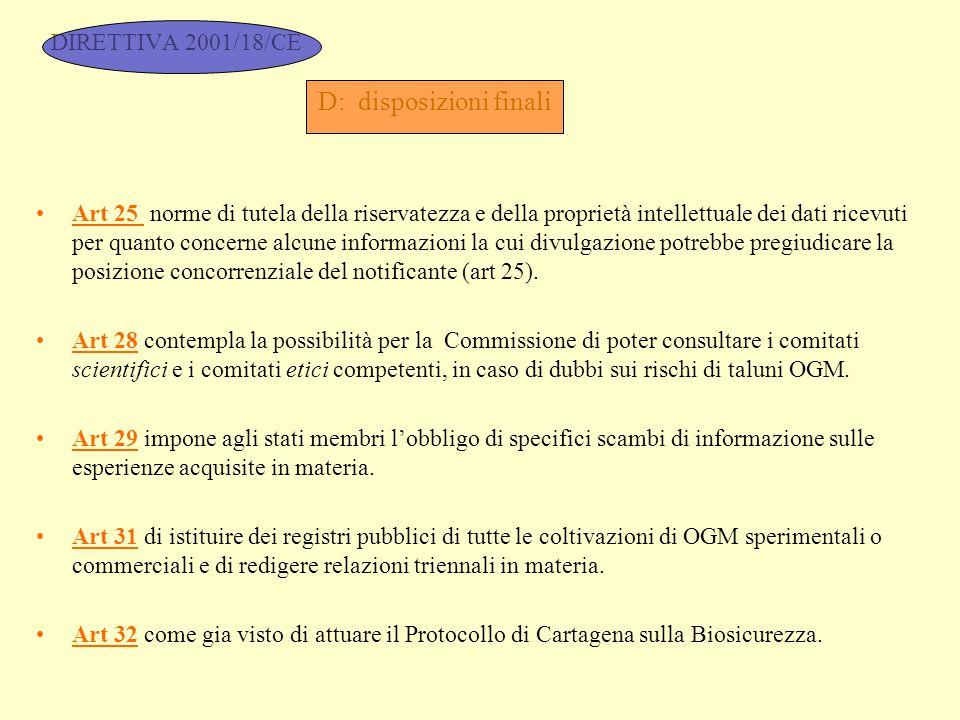 DIRETTIVA 2001/18/CE D: disposizioni finali Art 25 norme di tutela della riservatezza e della proprietà intellettuale dei dati ricevuti per quanto con