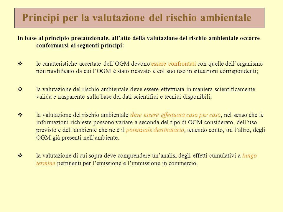 Principi per la valutazione del rischio ambientale In base al principio precauzionale, all'atto della valutazione del rischio ambientale occorre confo