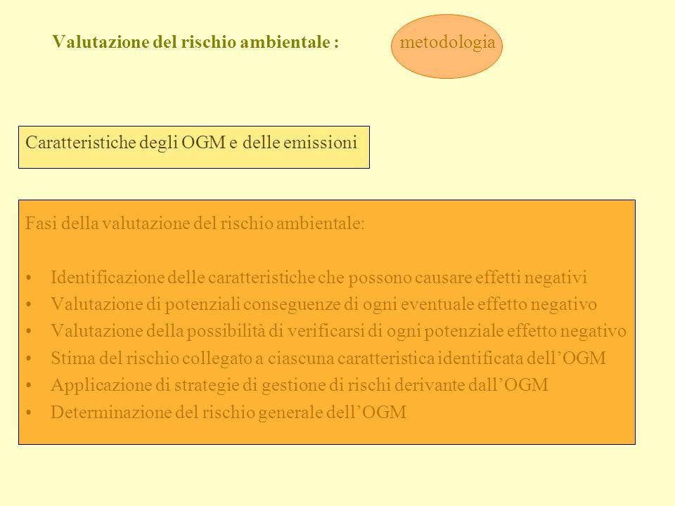 Valutazione del rischio ambientale : metodologia Caratteristiche degli OGM e delle emissioni Fasi della valutazione del rischio ambientale: Identifica