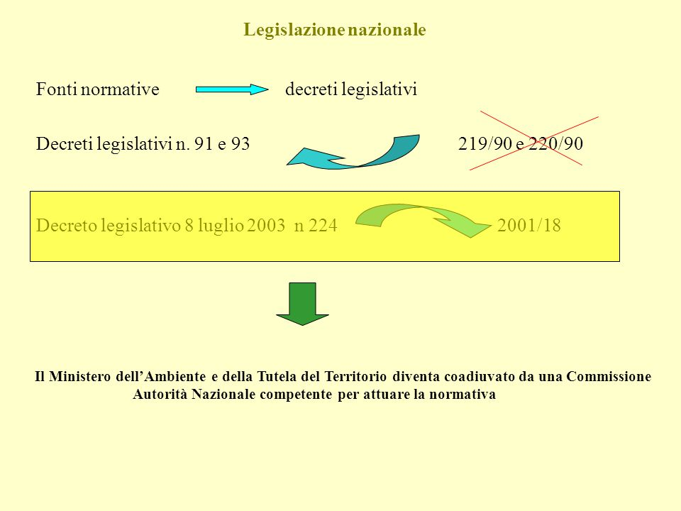 Legislazione nazionale Fonti normative decreti legislativi Decreti legislativi n. 91 e 93 219/90 e 220/90 Decreto legislativo 8 luglio 2003 n 224 2001