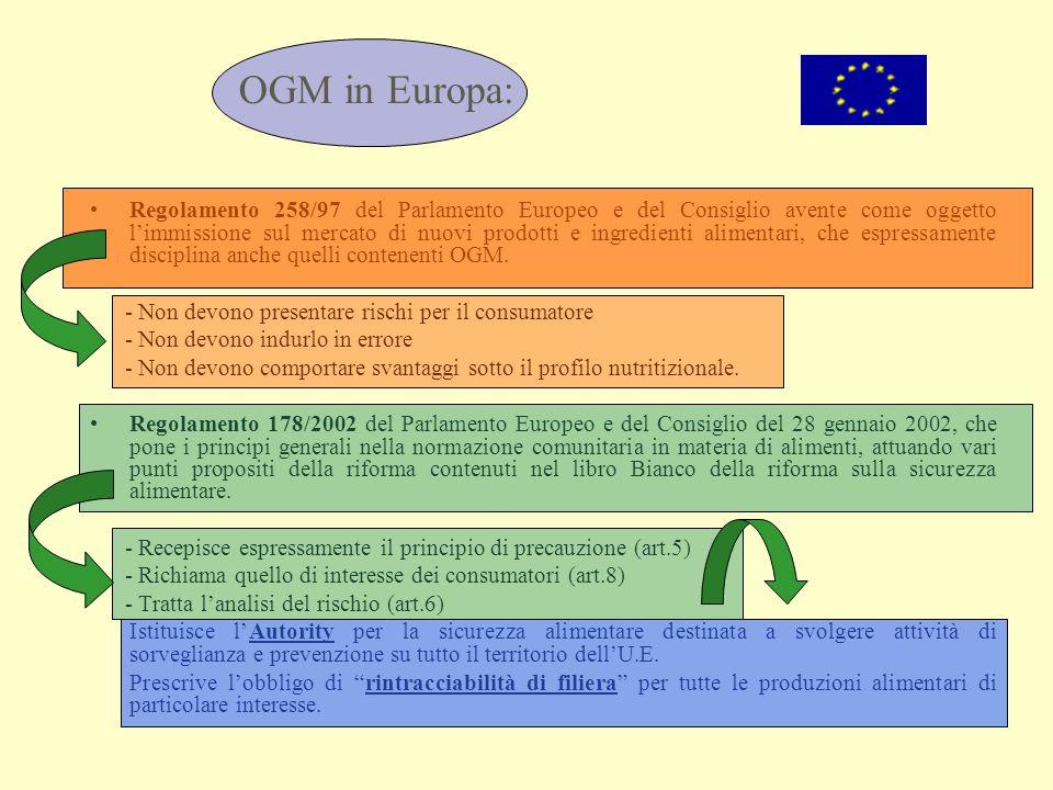 OGM in Europa: Regolamento 258/97 del Parlamento Europeo e del Consiglio avente come oggetto l'immissione sul mercato di nuovi prodotti e ingredienti