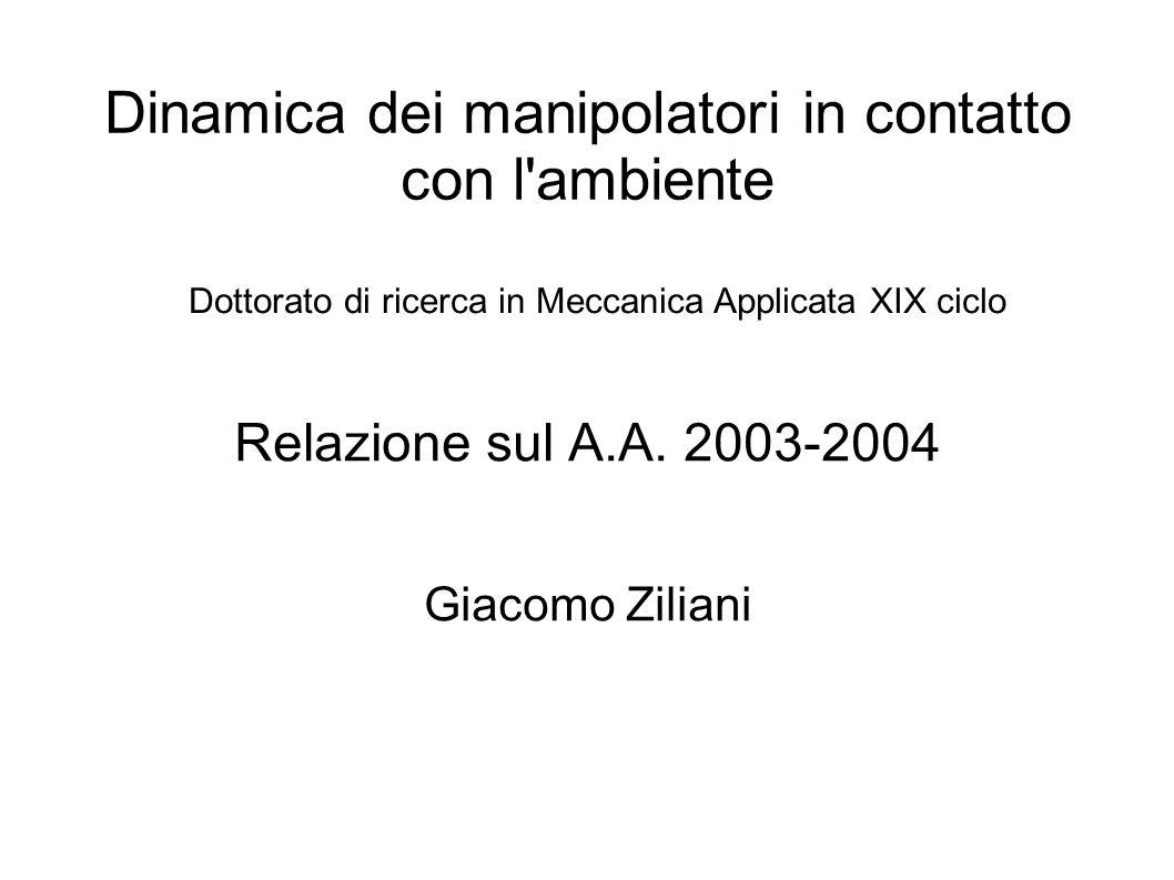 Dinamica dei manipolatori in contatto con l ambiente Relazione sul A.A.