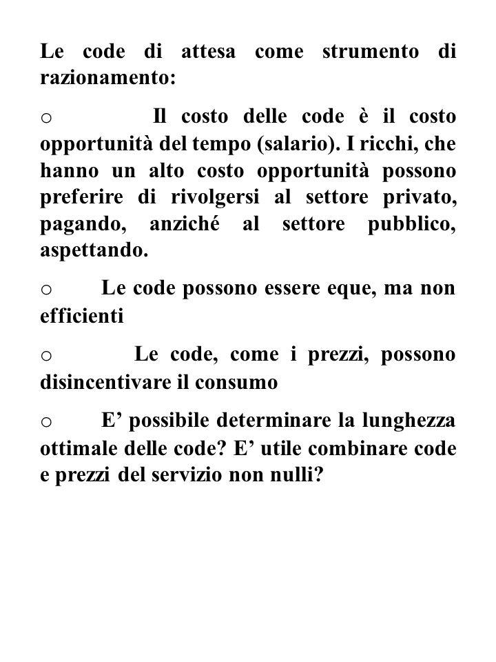 Le code di attesa come strumento di razionamento: o Il costo delle code è il costo opportunità del tempo (salario).