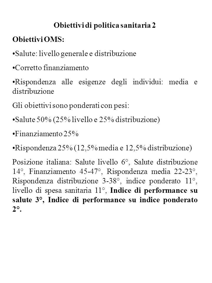 Obiettivi di politica sanitaria 2 Obiettivi OMS: Salute: livello generale e distribuzione Corretto finanziamento Rispondenza alle esigenze degli individui: media e distribuzione Gli obiettivi sono ponderati con pesi: Salute 50% (25% livello e 25% distribuzione) Finanziamento 25% Rispondenza 25% (12,5% media e 12,5% distribuzione) Posizione italiana: Salute livello 6°, Salute distribuzione 14°, Finanziamento 45-47°, Rispondenza media 22-23°, Rispondenza distribuzione 3-38°, indice ponderato 11°, livello di spesa sanitaria 11°, Indice di performance su salute 3°, Indice di performance su indice ponderato 2°.