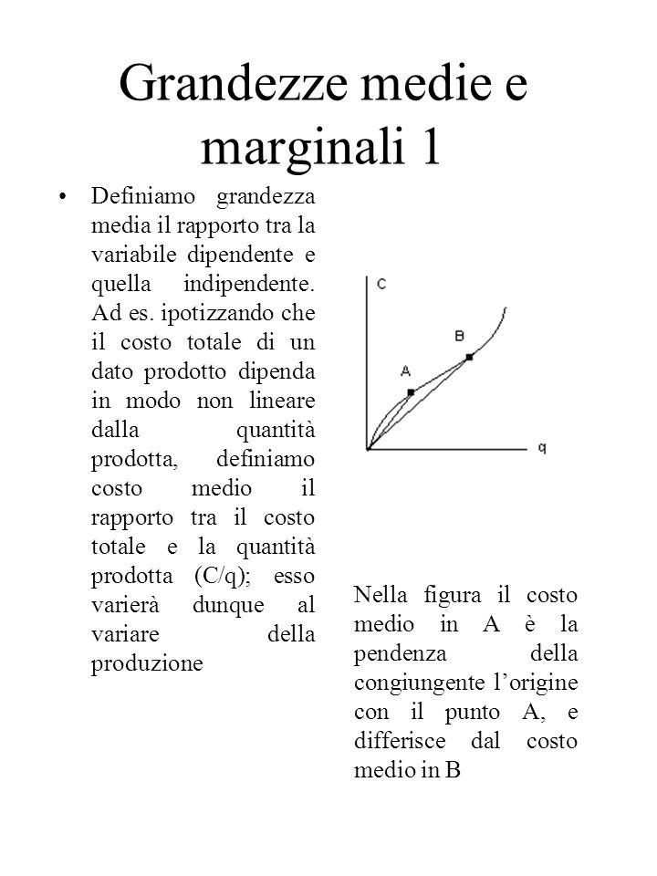 Grandezze medie e marginali 1 Definiamo grandezza media il rapporto tra la variabile dipendente e quella indipendente.