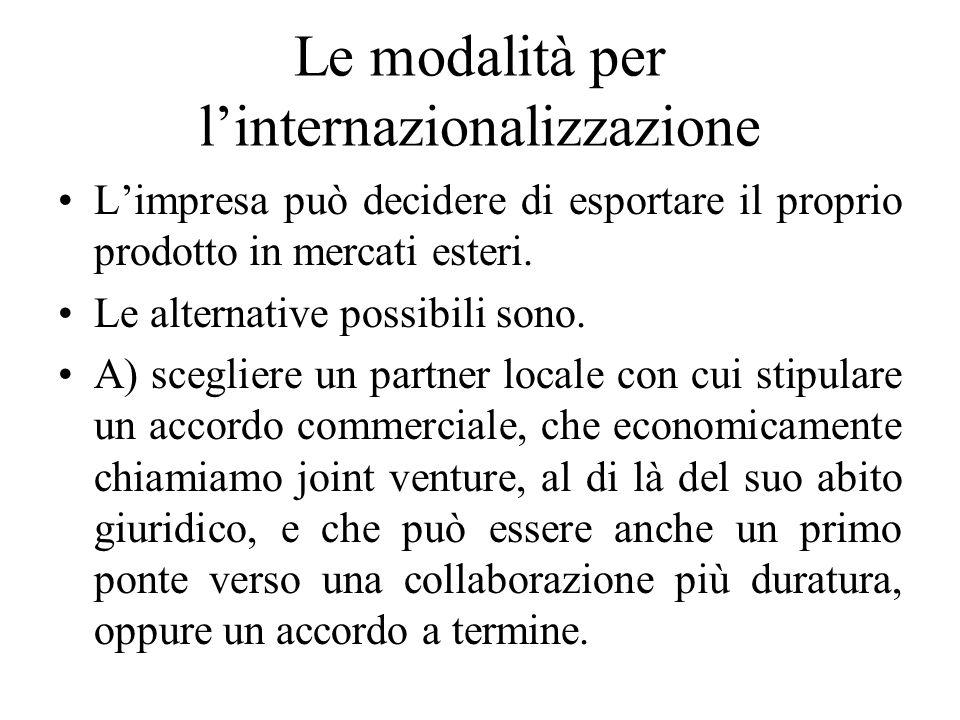 Le modalità per l'internazionalizzazione L'impresa può decidere di esportare il proprio prodotto in mercati esteri.