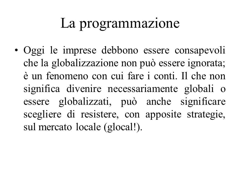 La programmazione Oggi le imprese debbono essere consapevoli che la globalizzazione non può essere ignorata; è un fenomeno con cui fare i conti.