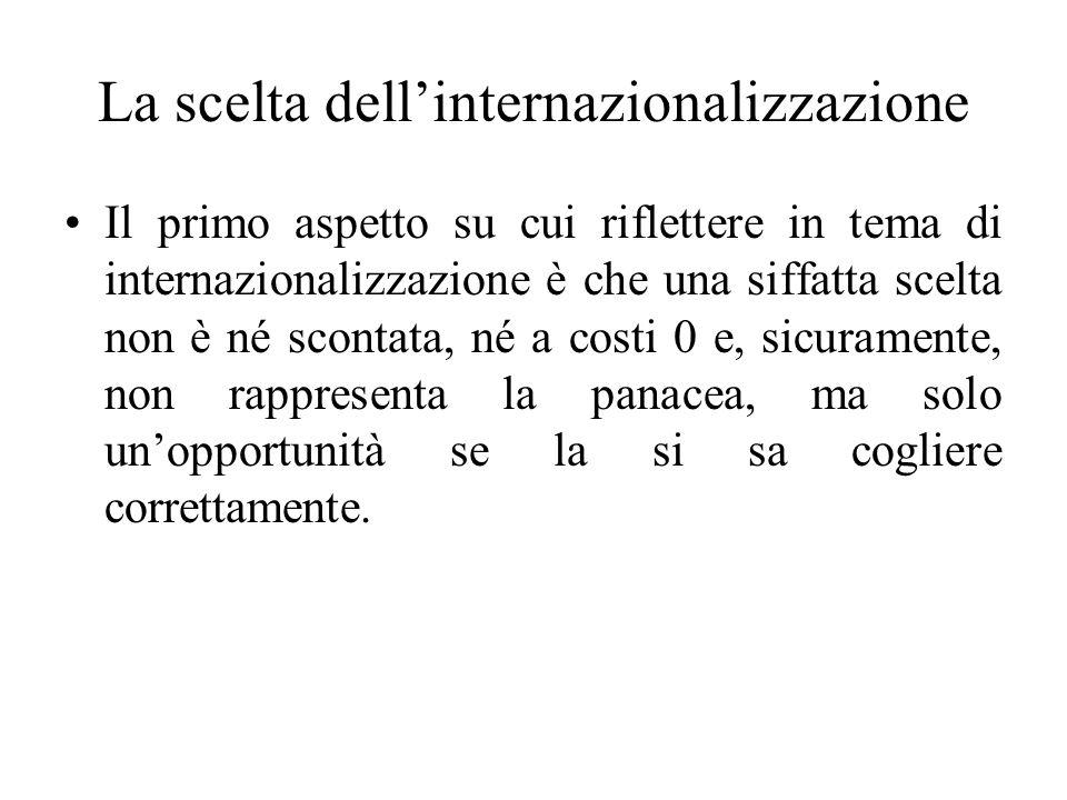 La scelta dell'internazionalizzazione Il primo aspetto su cui riflettere in tema di internazionalizzazione è che una siffatta scelta non è né scontata, né a costi 0 e, sicuramente, non rappresenta la panacea, ma solo un'opportunità se la si sa cogliere correttamente.