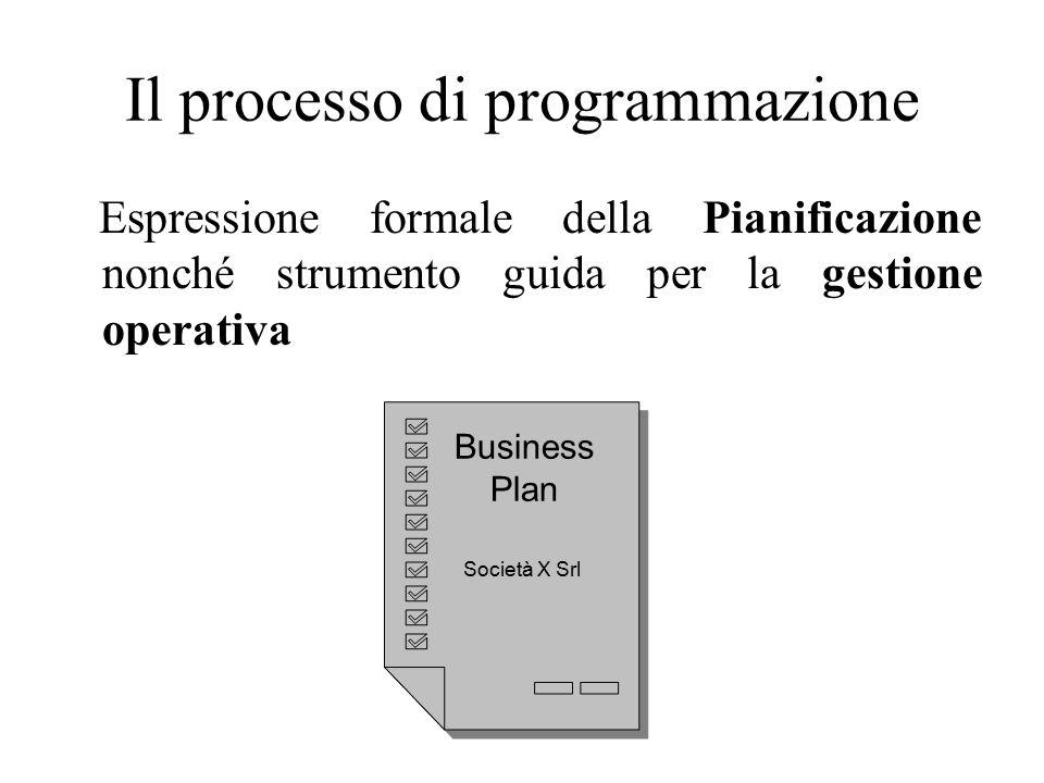 Il processo di programmazione Espressione formale della Pianificazione nonché strumento guida per la gestione operativa Business Plan Società X Srl Business Plan Società X Srl