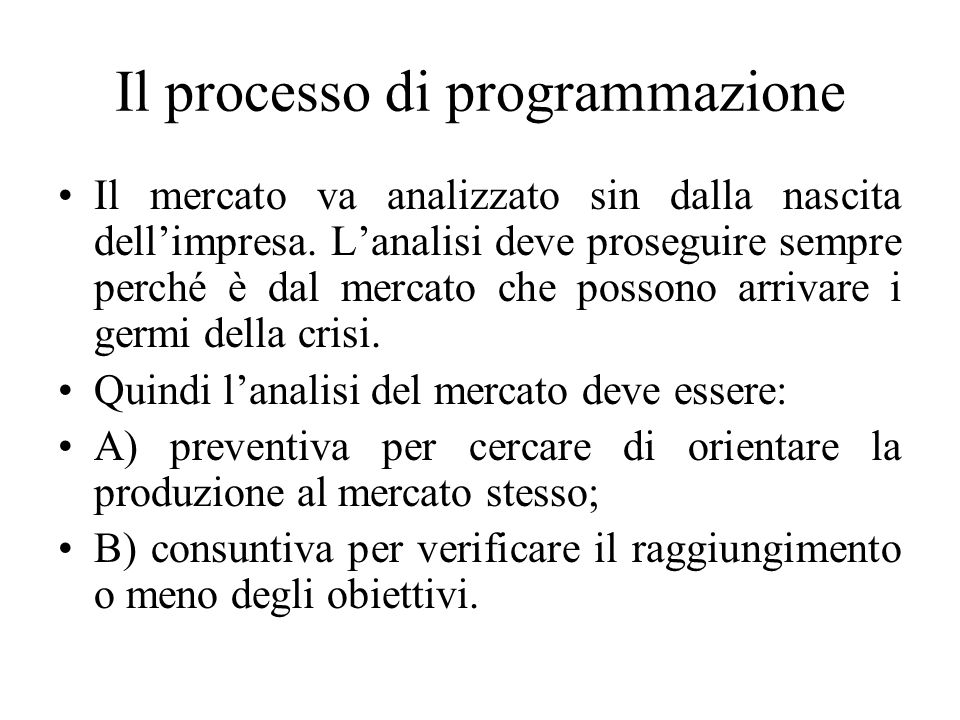Il processo di programmazione Il mercato va analizzato sin dalla nascita dell'impresa.