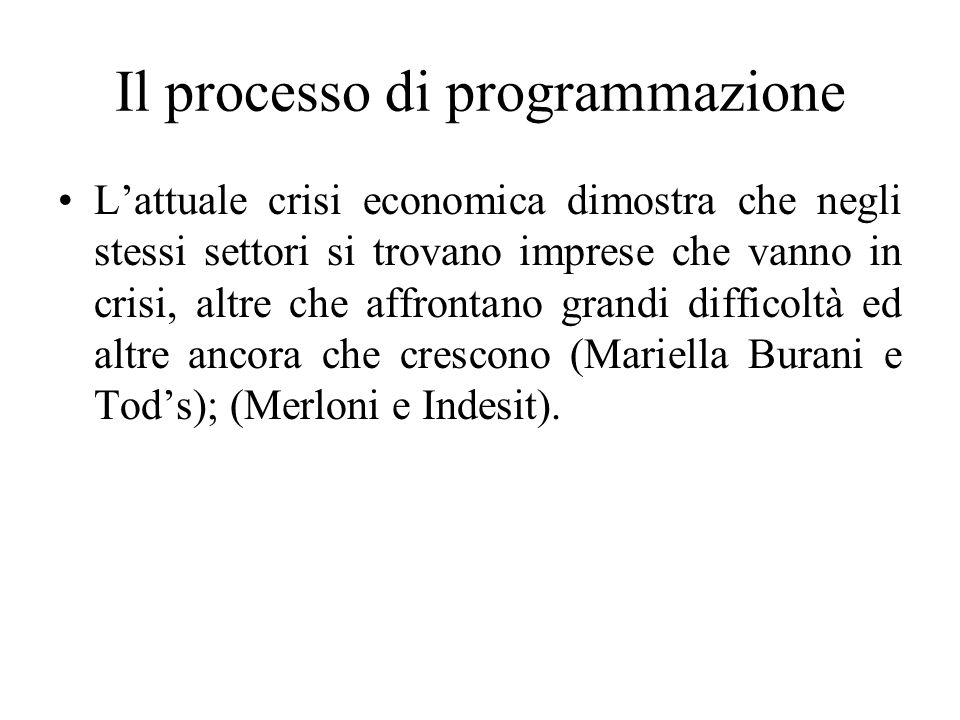 Il processo di programmazione L'attuale crisi economica dimostra che negli stessi settori si trovano imprese che vanno in crisi, altre che affrontano grandi difficoltà ed altre ancora che crescono (Mariella Burani e Tod's); (Merloni e Indesit).