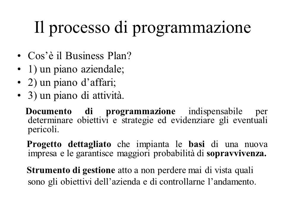 Il processo di programmazione Cos'è il Business Plan.