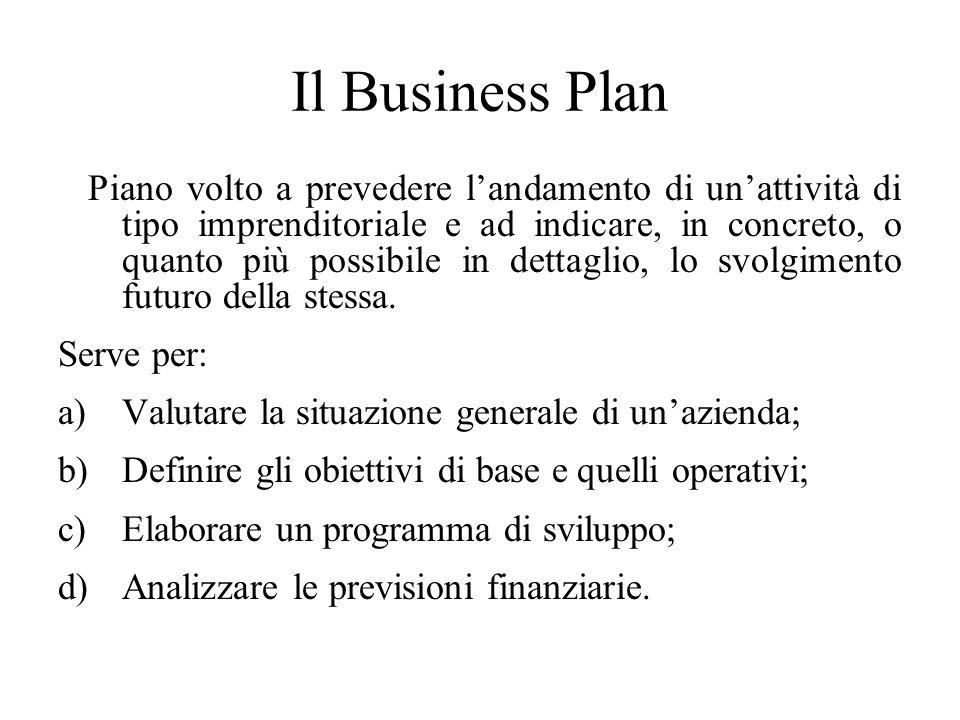 Il Business Plan Piano volto a prevedere l'andamento di un'attività di tipo imprenditoriale e ad indicare, in concreto, o quanto più possibile in dettaglio, lo svolgimento futuro della stessa.