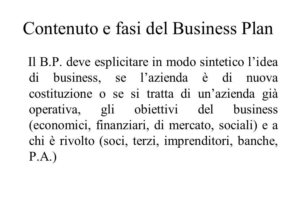 Contenuto e fasi del Business Plan Il B.P.