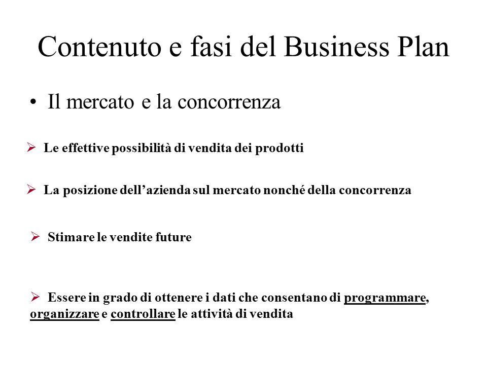 Contenuto e fasi del Business Plan Il mercato e la concorrenza 48  Le effettive possibilità di vendita dei prodotti  Stimare le vendite future  Essere in grado di ottenere i dati che consentano di programmare, organizzare e controllare le attività di vendita  La posizione dell'azienda sul mercato nonché della concorrenza