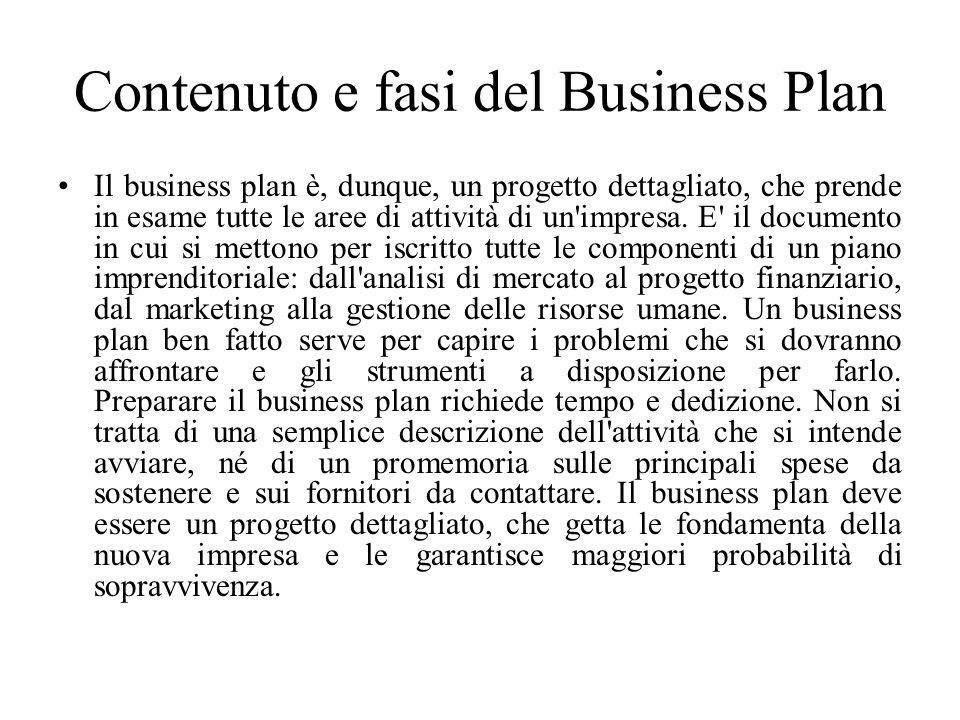 Contenuto e fasi del Business Plan Il business plan è, dunque, un progetto dettagliato, che prende in esame tutte le aree di attività di un impresa.