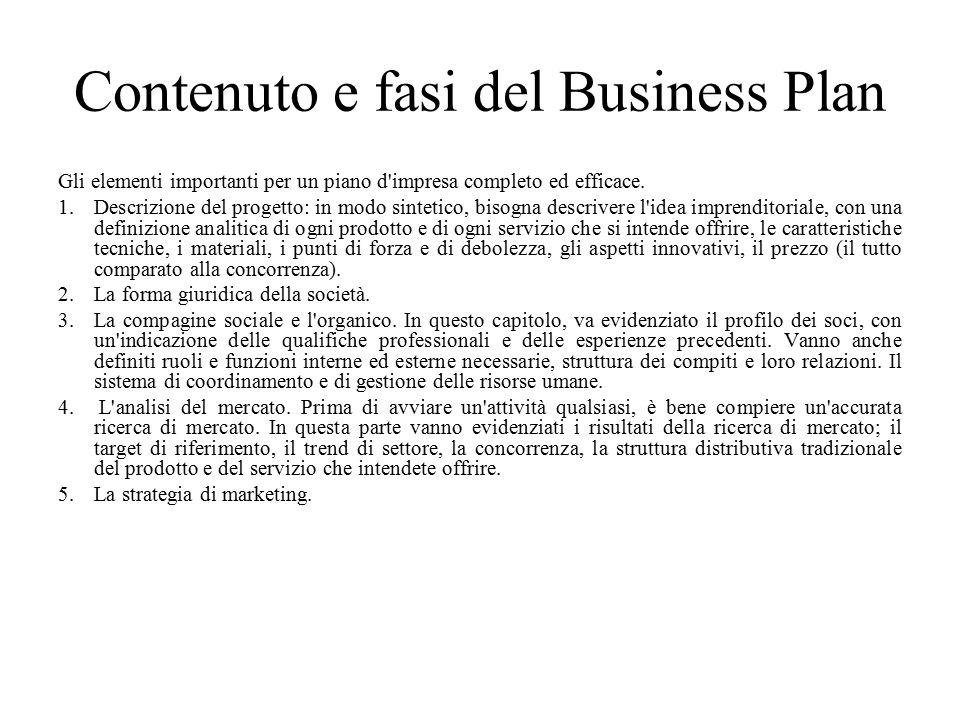 Contenuto e fasi del Business Plan Gli elementi importanti per un piano d impresa completo ed efficace.