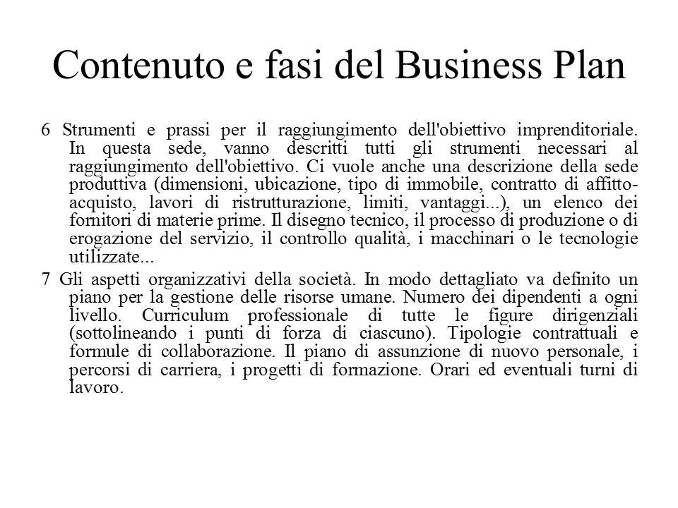 Contenuto e fasi del Business Plan 6 Strumenti e prassi per il raggiungimento dell obiettivo imprenditoriale.