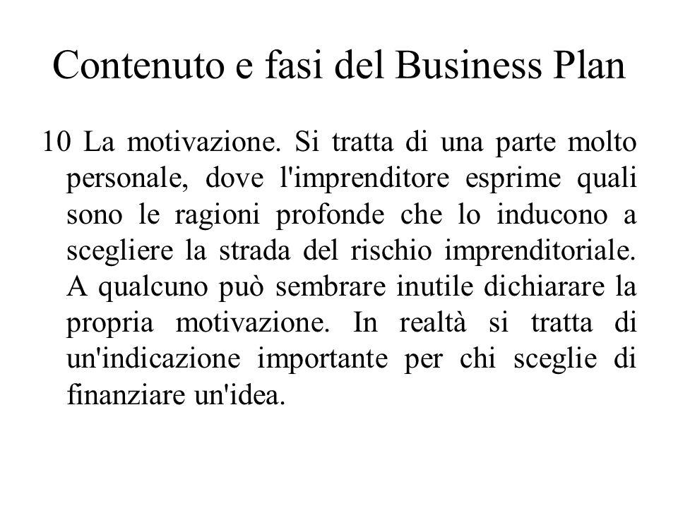 Contenuto e fasi del Business Plan 10 La motivazione.