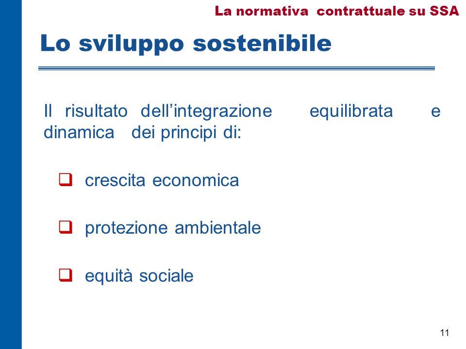 11 Lo sviluppo sostenibile Il risultato dell'integrazione equilibrata e dinamica dei principi di:  crescita economica  protezione ambientale  equità sociale La normativa contrattuale su SSA