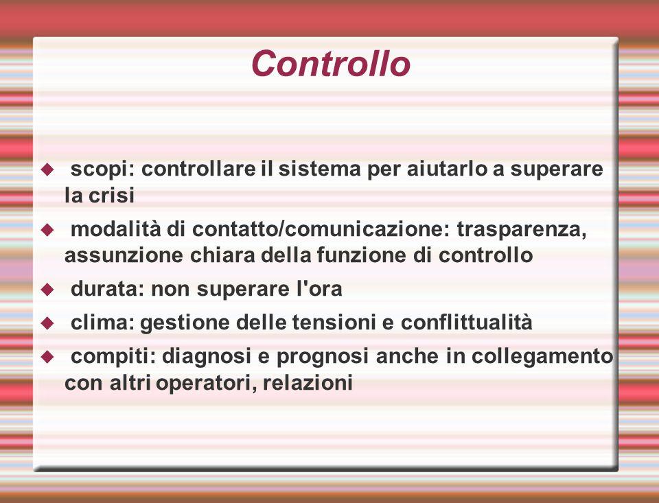 Controllo  scopi: controllare il sistema per aiutarlo a superare la crisi  modalità di contatto/comunicazione: trasparenza, assunzione chiara della