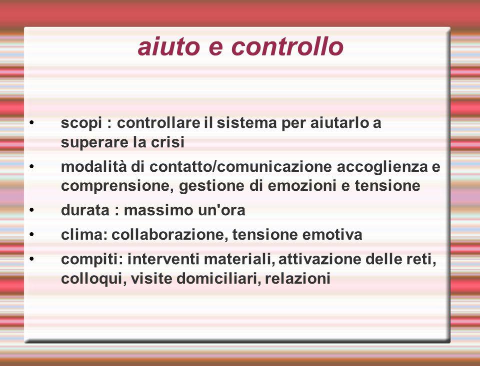 aiuto e controllo scopi : controllare il sistema per aiutarlo a superare la crisi modalità di contatto/comunicazione accoglienza e comprensione, gesti