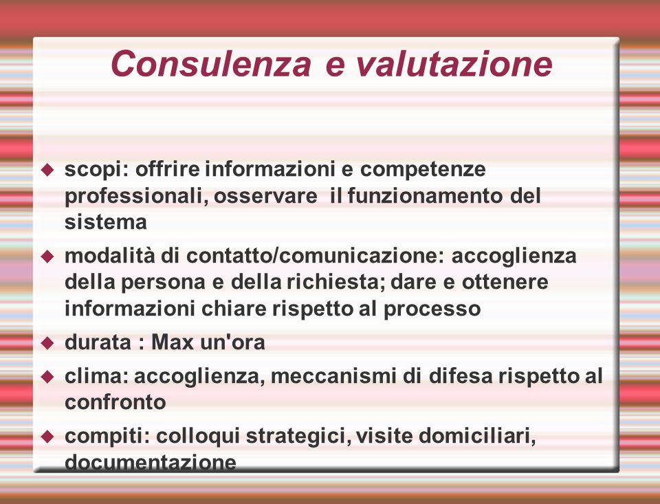 Consulenza e valutazione  scopi: offrire informazioni e competenze professionali, osservare il funzionamento del sistema  modalità di contatto/comun