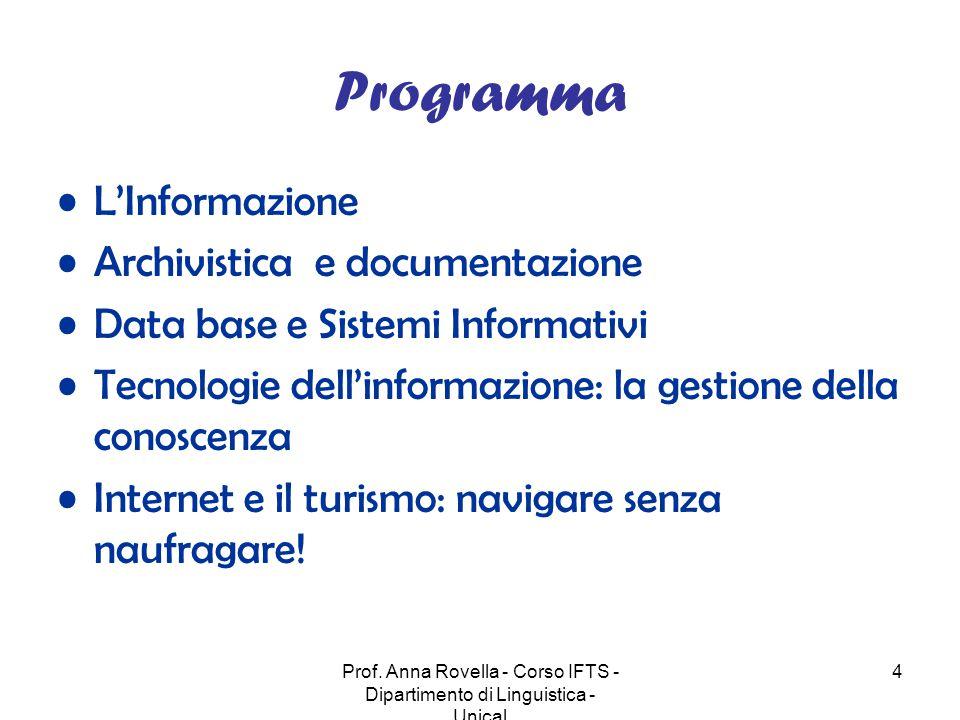 Prof. Anna Rovella - Corso IFTS - Dipartimento di Linguistica - Unical 4 Programma L'Informazione Archivistica e documentazione Data base e Sistemi In