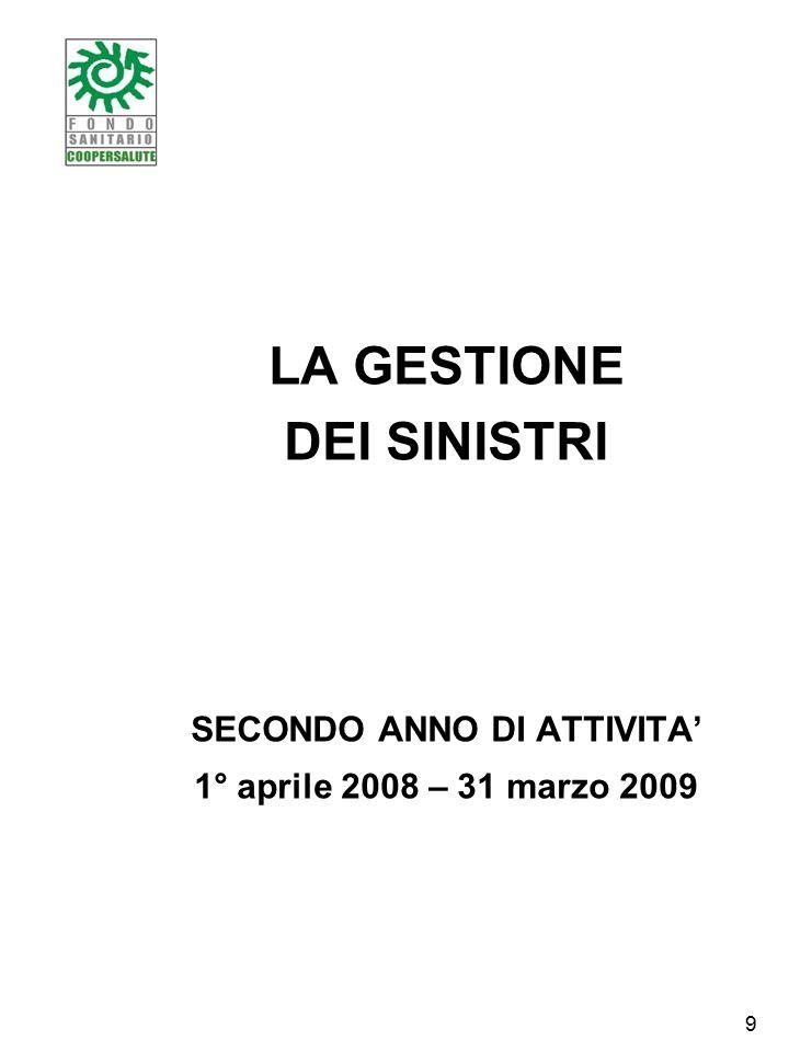 LA GESTIONE DEI SINISTRI SECONDO ANNO DI ATTIVITA' 1° aprile 2008 – 31 marzo 2009 9