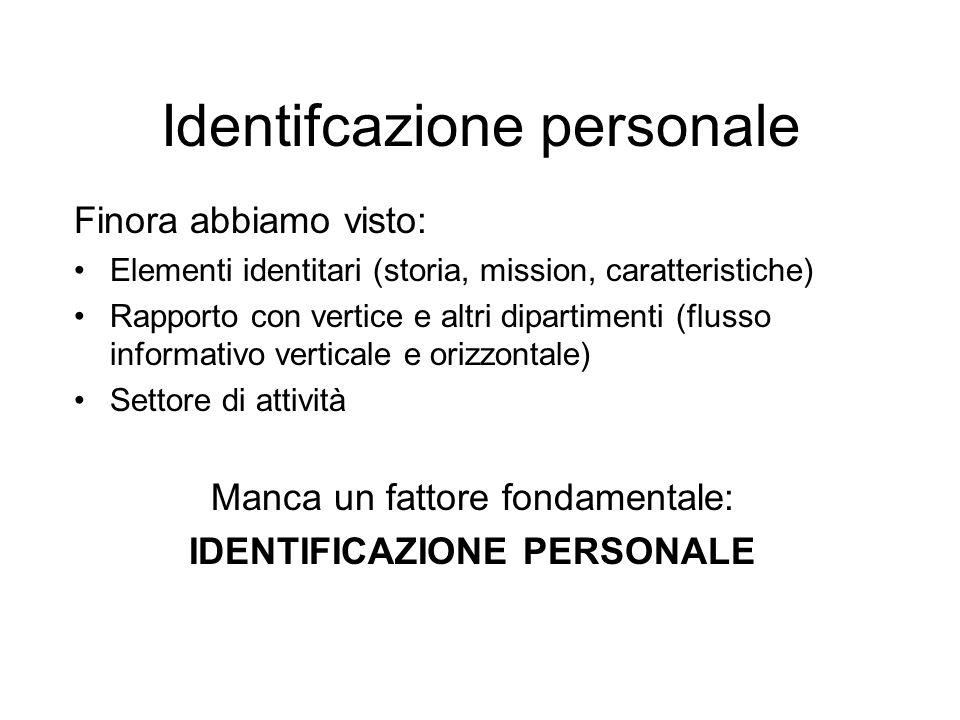 Identifcazione personale Finora abbiamo visto: Elementi identitari (storia, mission, caratteristiche) Rapporto con vertice e altri dipartimenti (flusso informativo verticale e orizzontale) Settore di attività Manca un fattore fondamentale: IDENTIFICAZIONE PERSONALE