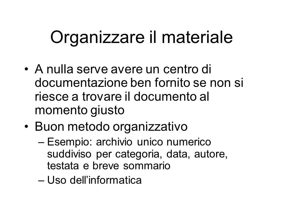 Organizzare il materiale A nulla serve avere un centro di documentazione ben fornito se non si riesce a trovare il documento al momento giusto Buon me