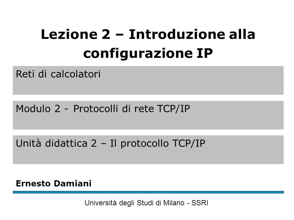Reti di calcolatori Modulo 2 -Protocolli di rete TCP/IP Unità didattica 2 – Il protocollo TCP/IP Ernesto Damiani Università degli Studi di Milano - SSRI Lezione 2 – Introduzione alla configurazione IP